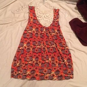 Cute tank top with open stitching on back
